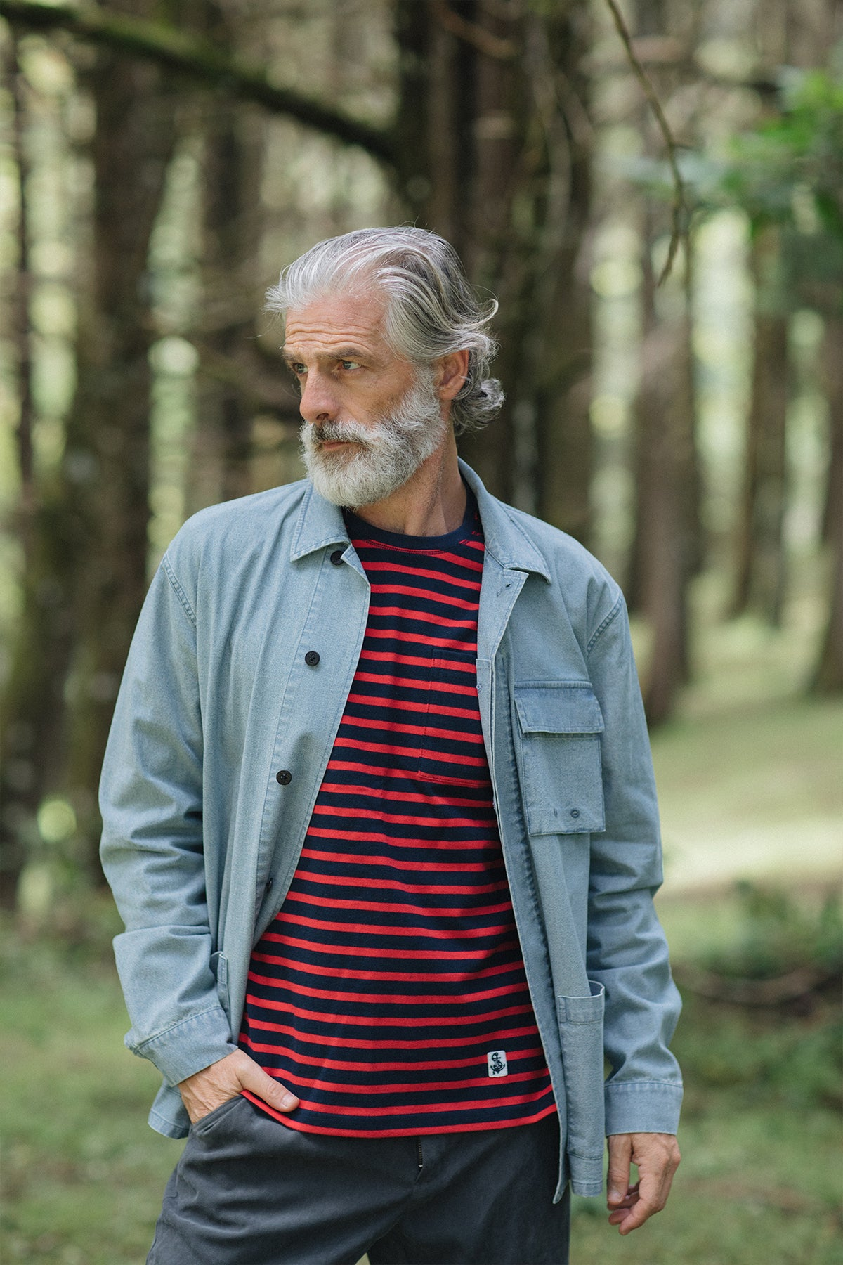 Mariner Knit Shirt in Red/Navy