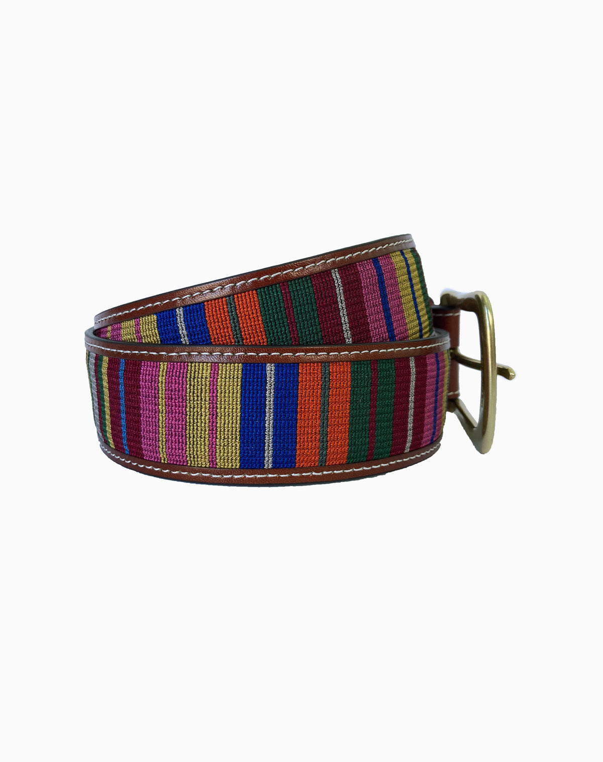 Embroidered Belt in Multi Stripe