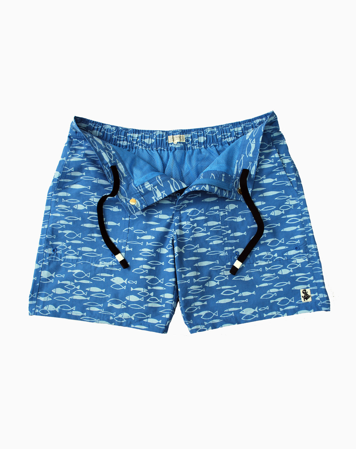 Fish Print Utility Trunk in Mid-Blue