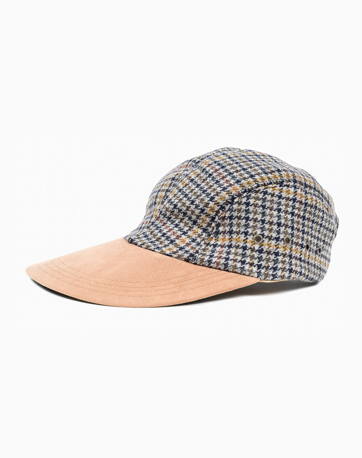 Swordfish in Grey Houndstooth Wool with Suede Brim