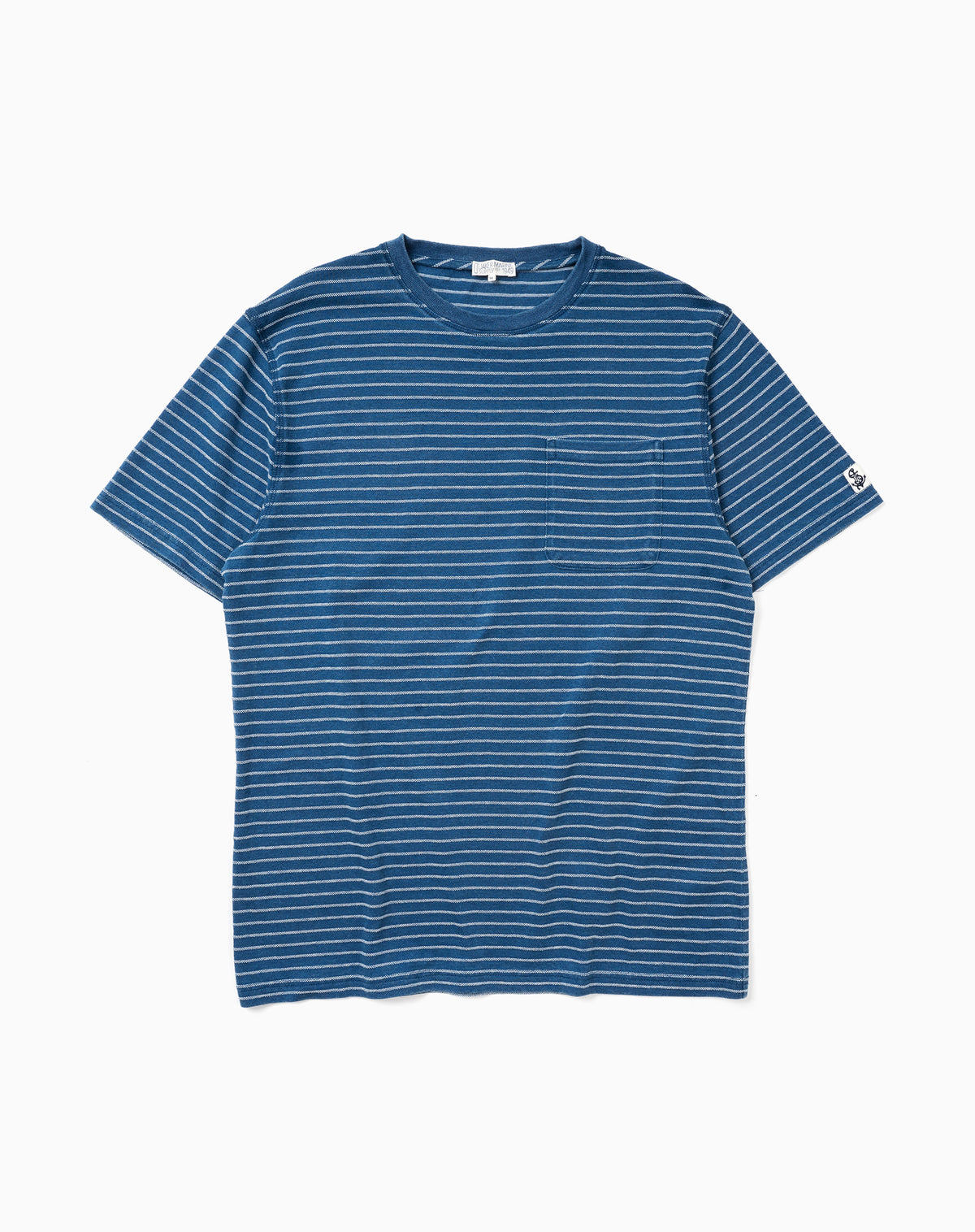 Indigo Pocket Tee in Navy/White Jacquard Stripe