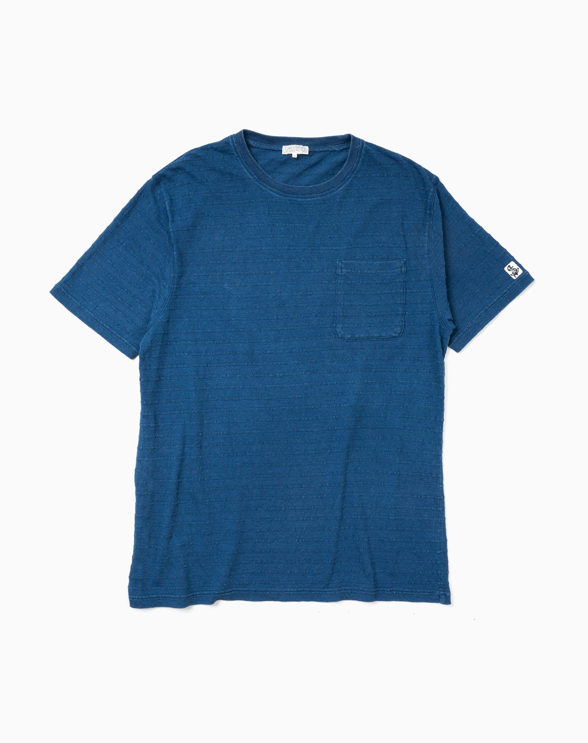 Indigo Pocket Tee in Tonal Jacquard Stripe