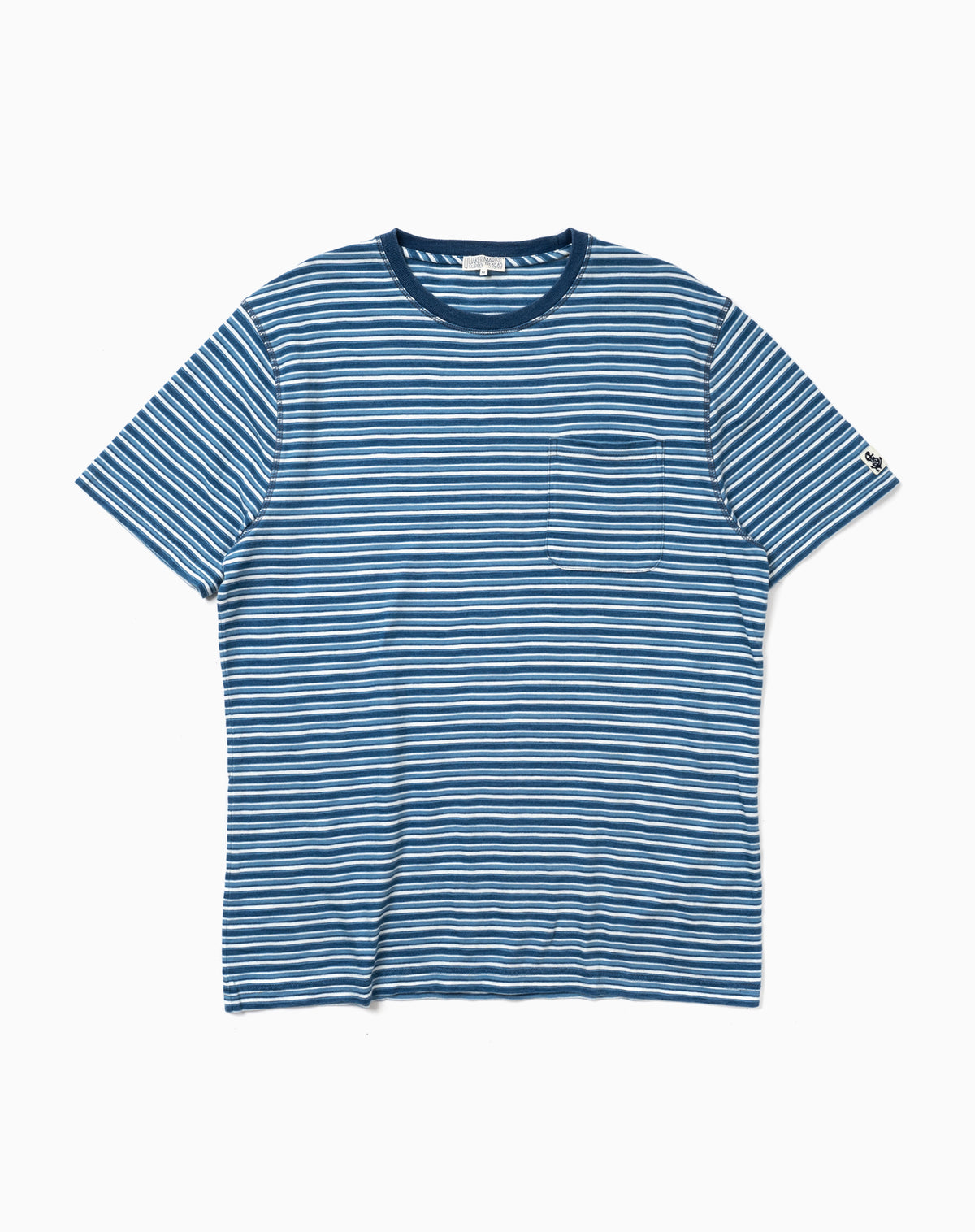 Indigo Pocket Tee in Multi-Blue Stripe
