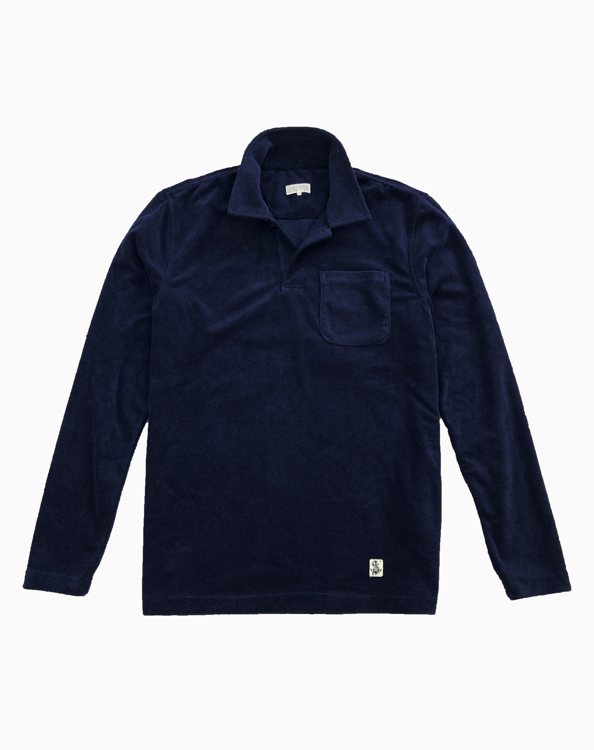 Long Sleeve Terry Polo in Navy