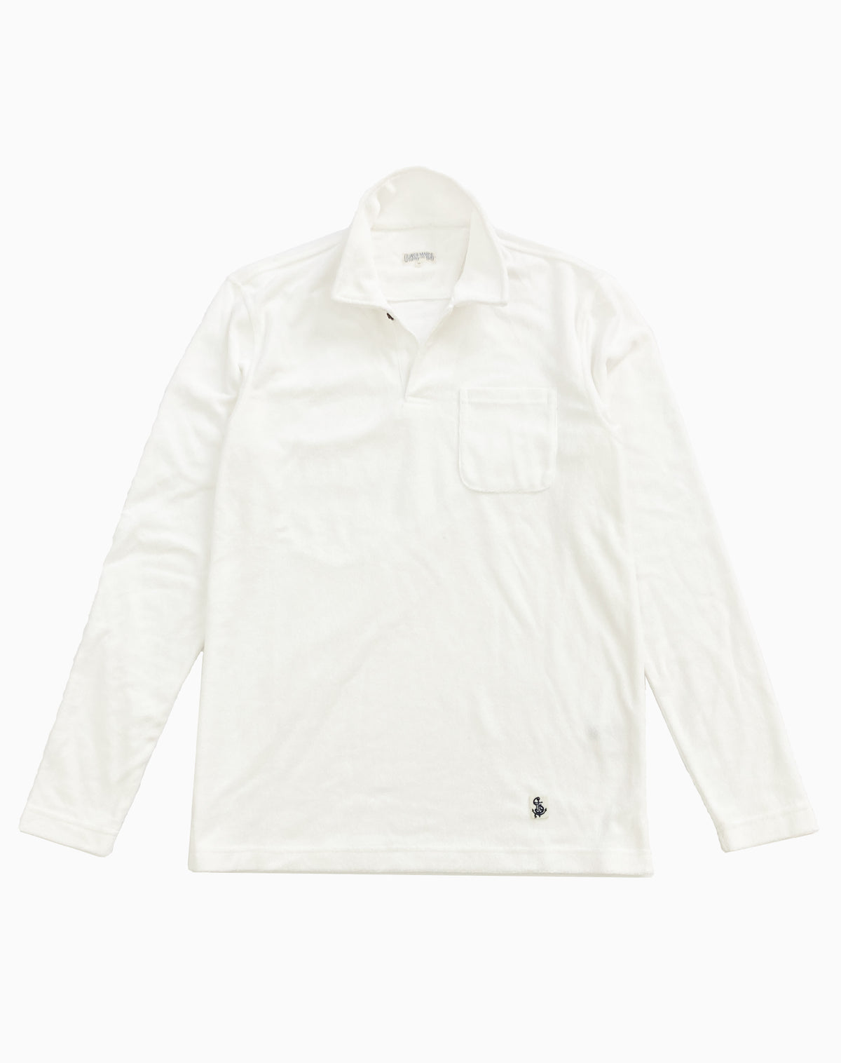 Long Sleeve Terry Polo in White
