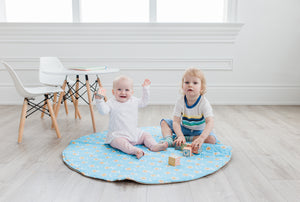 Play Mat - Camel & Blue Floral (Double-Sided)