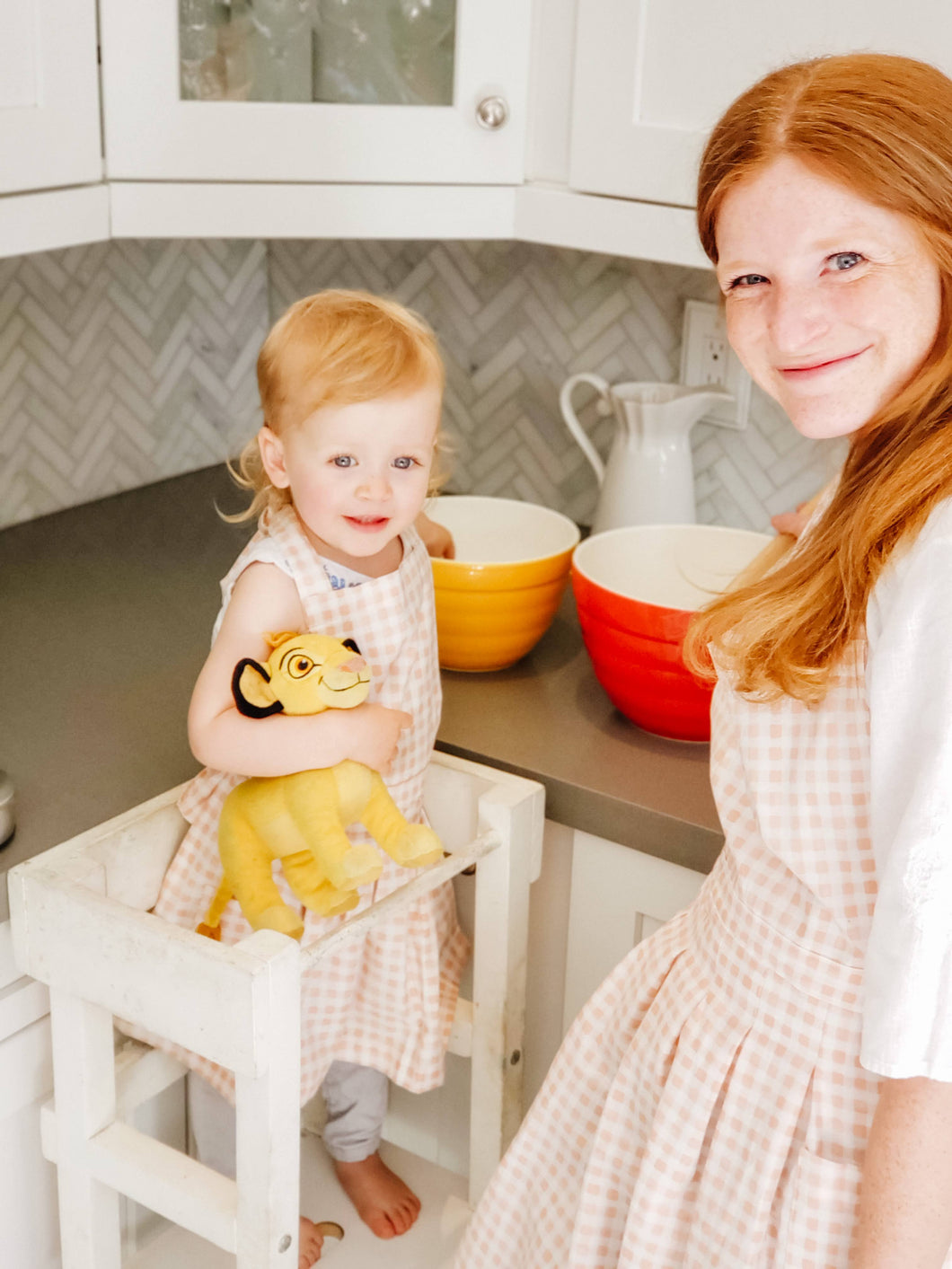 Toddler Apron - Blush Gingham