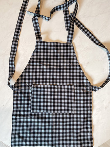 Toddler Apron - Grey and Black Gingham