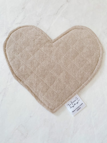 Crinkle Heart - Cream Linen