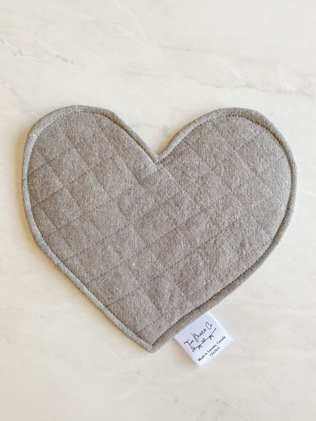 Crinkle Heart - Grey Linen
