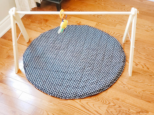 Play Mat - Black Gingham & Solid Grey