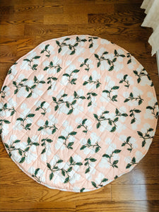 Play Mat - Blush Hydrangea & Gingham