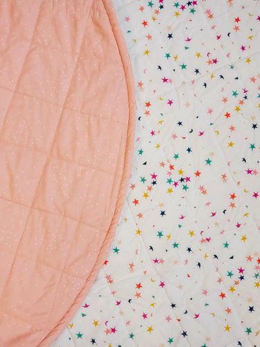 Play Mat - Stars & Coral Speckles (Double-Sided)