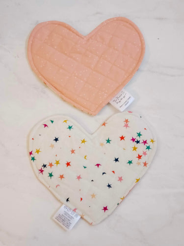 Crinkle Heart - Stars & Coral Speckles (Double-Sided)