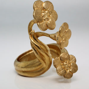 Metallic Gold Silver Platinum Unique Trendy Statement Contemporary Wearable art Fine Jewelry Brass Floral Tropical Tacca Chantrieri Bat Flower Open Adjustable Ring