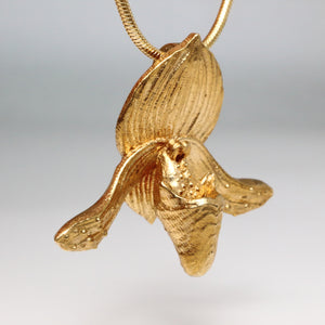 Metallic Gold Silver Platinum Unique Trendy Statement Contemporary Wearable art Fine Jewelry Floral Tropical Brass Venus Lady Slipper Paphiopedilum Orchid Flower Pendant Necklace Small