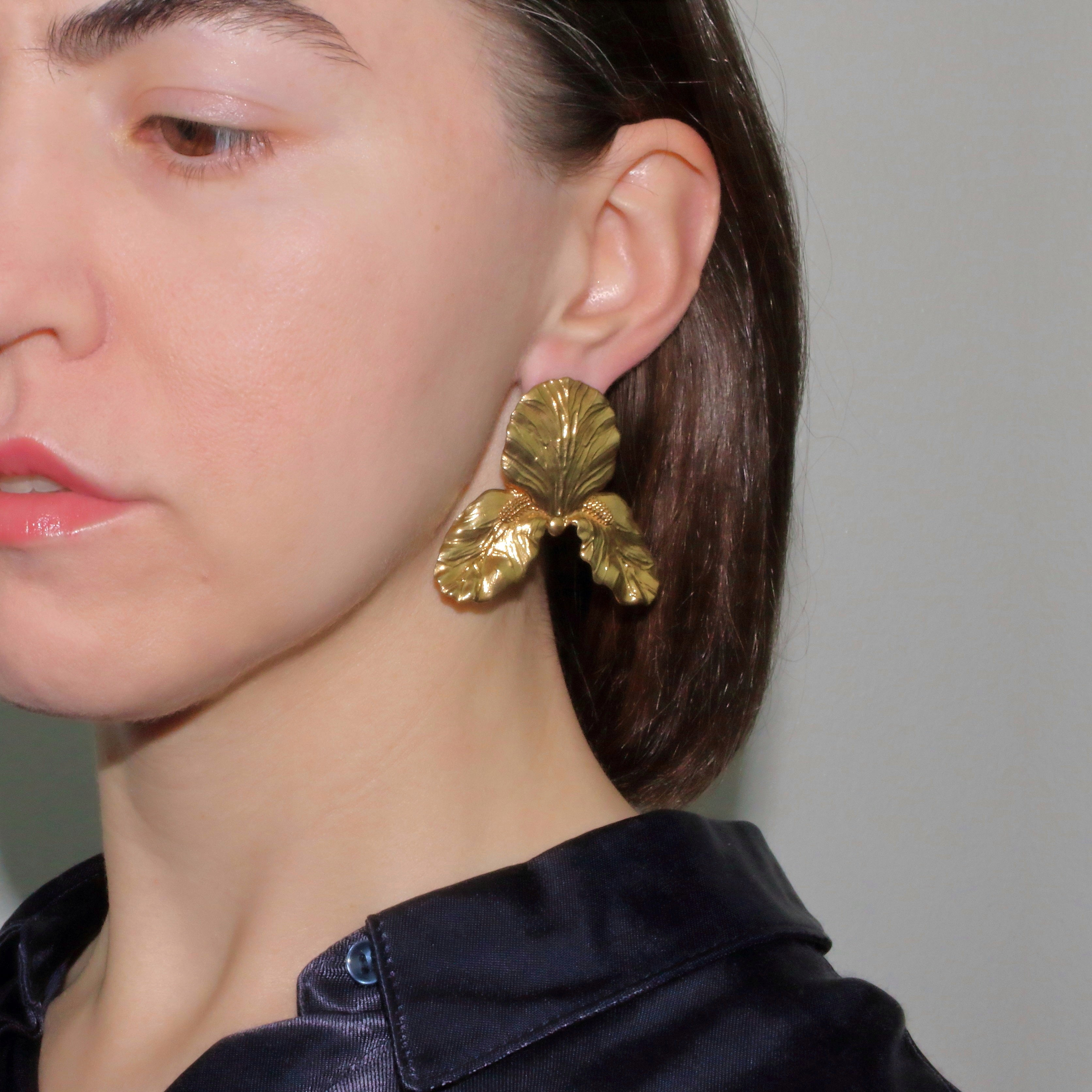 Metallic Gold Silver Platinum Unique Trendy Statement Contemporary Wearable art Floral Tropical Big Brass Tall Bearded Iris Earrings