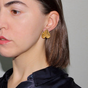 Metallic Gold Silver Platinum Unique Trendy Statement Contemporary Wearable art Brass Floral Tropical Stud Small Anthurium Earrings