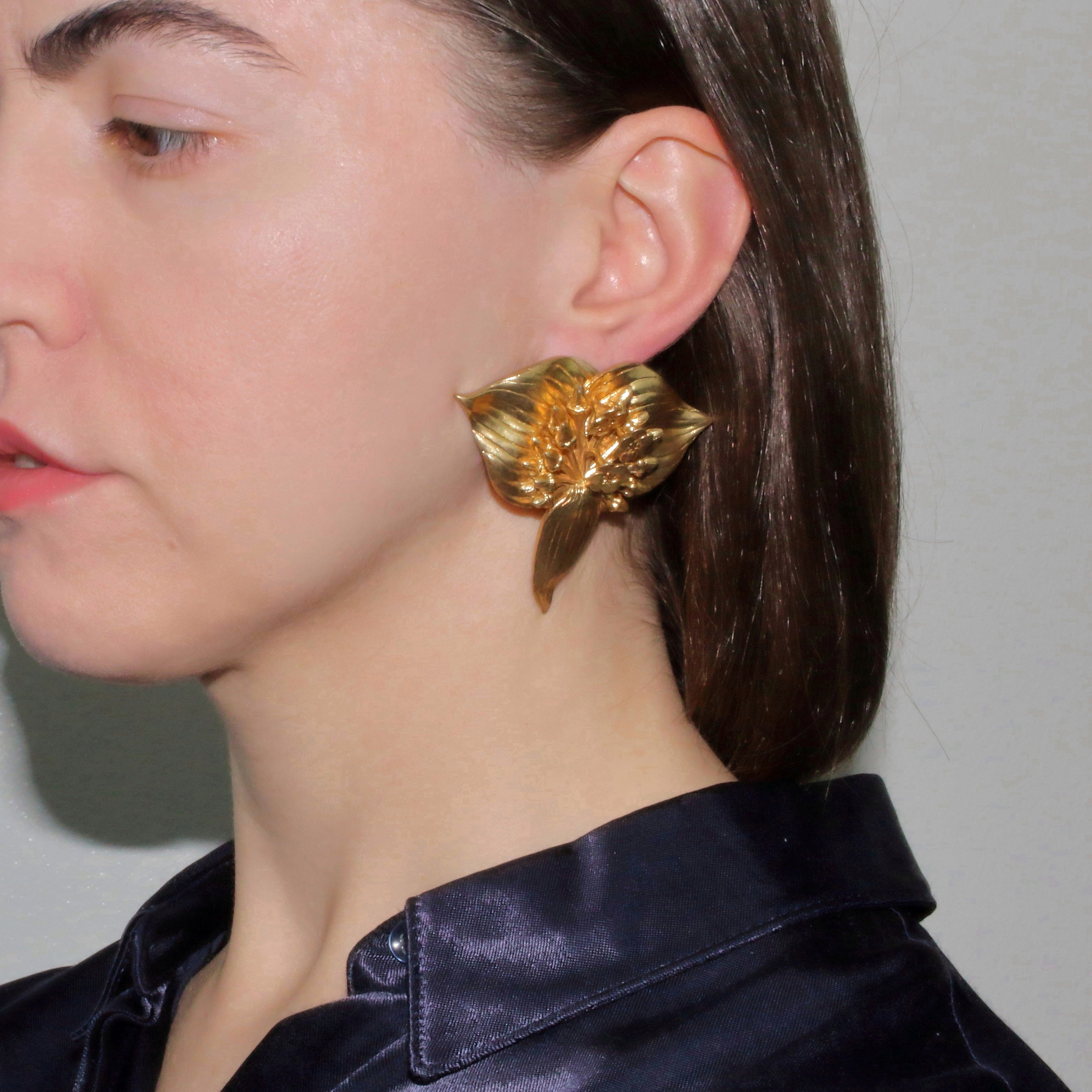 Metallic Gold Silver Platinum Unique Trendy Statement Contemporary Wearable art Jewelry Floral Tropical Big Brass Tacca Chantrieri Bat Flower Earrings