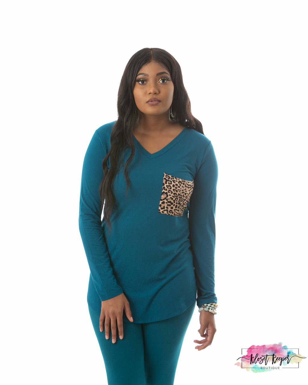 Miaya Teal Leopard Leggings Set