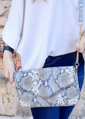 Snake Crossbody Bag With Chain Strap