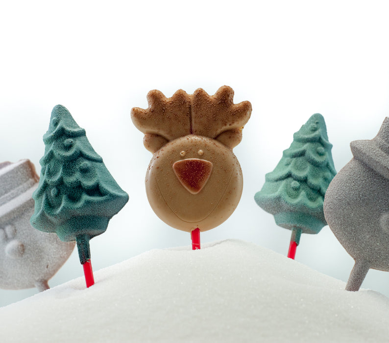 Holiday Themed Chocolate Lollipops