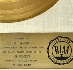 1970 Elton John Debut RIAA Award To Elton Up For Sale