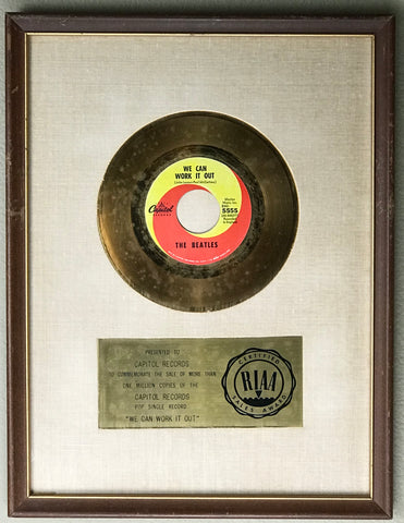 """Beatles """"We Can Work It Out"""" RIAA white matte award"""