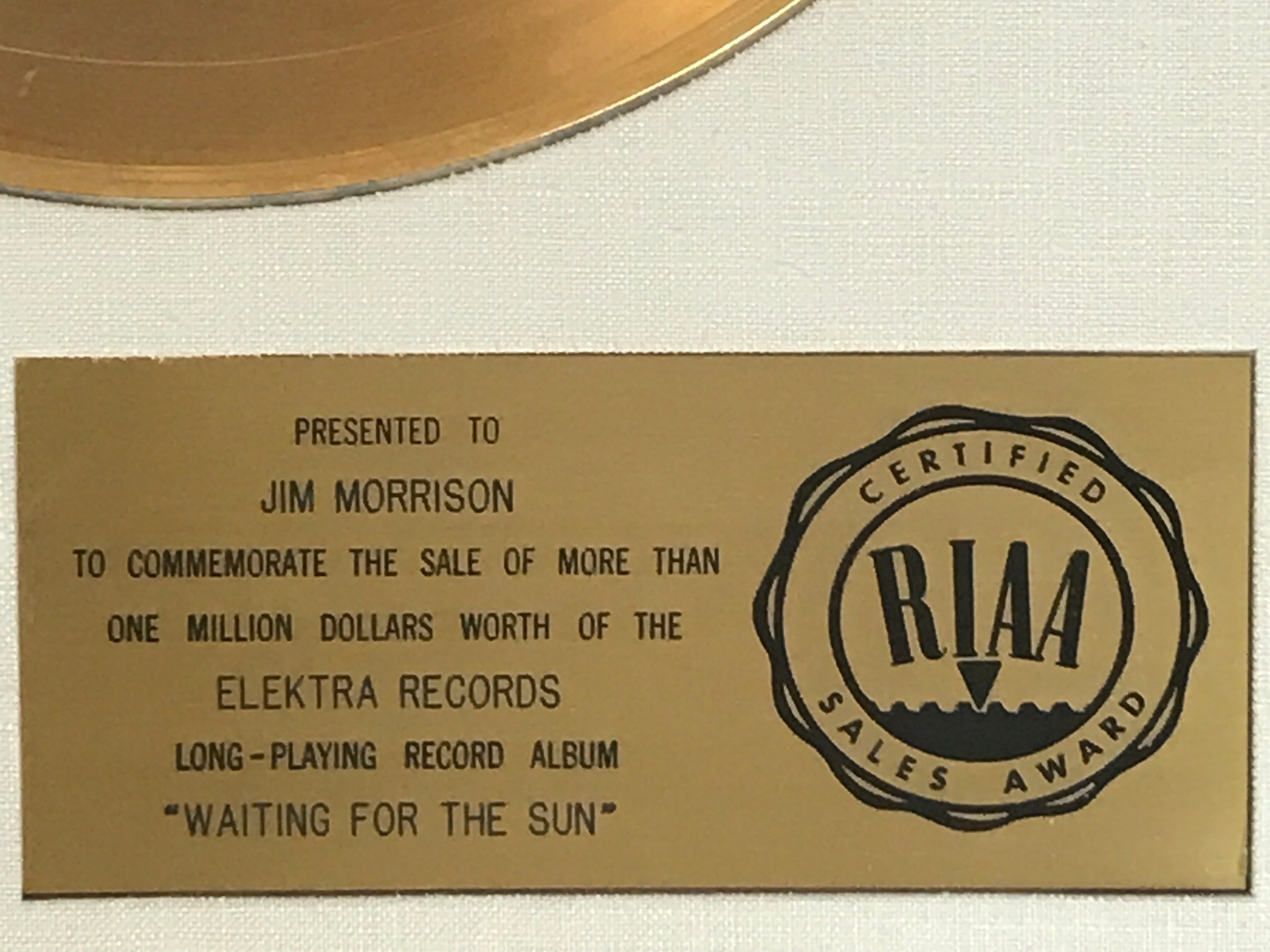 The Doors Waiting For The Sun RIAA Gold award to Jim Morrison