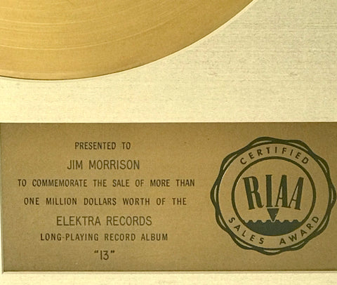 RIAA Gold Record presented to Jim Morrison close up