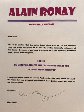 Provenance letter re The Doors record award from Alain Ronay