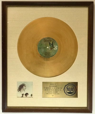 The Doors RIAA white matte award to Jim Morrison