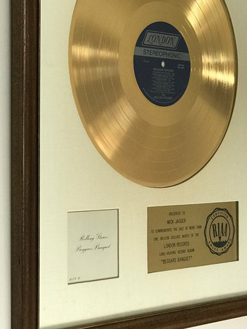 Rolling Stones Beggars Banquet RIAA white matte award to Mick Jagger