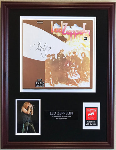 Led Zeppelin backstage pass and signed album collage