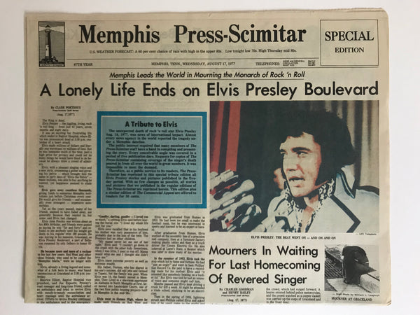 "Elvis Presley RIP original Aug. 17, 1977 Memphis newspaper ""Memphis Press-Scimitar"""