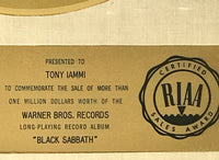 Black Sabbath debut White Matte RIAA Gold LP Award presented to and signed by Tony Iommi - RARE
