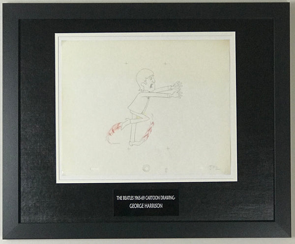 Beatles 1965-69 Cartoon - Framed Original Animation Cel George Harrison Drawing- RARE