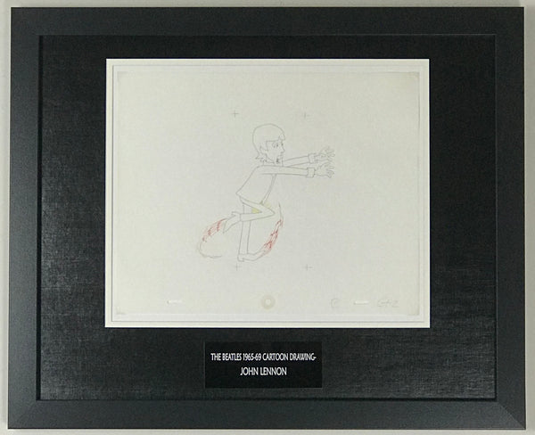 Beatles 1965-69 Cartoon - Framed Original Animation Cel John Lennon Drawing- RARE