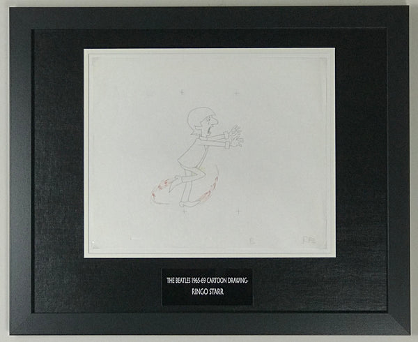 Beatles 1965-69 Cartoon - Framed Original Animation Cel Ringo Starr Drawing- RARE