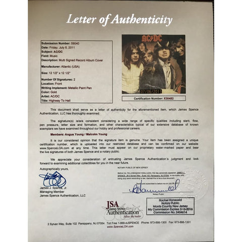 Letter of Authenticity from JSA