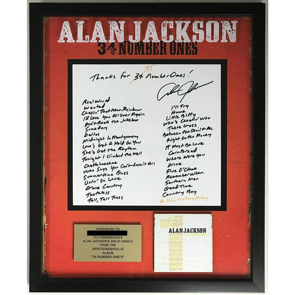 Alan Jackson 35 #1 Hits Arista Label Award - Record Award