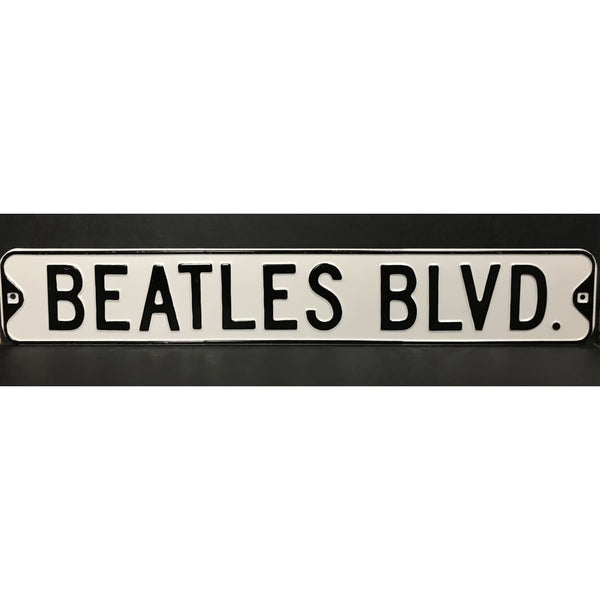 Beatles Embossed Metal Street Sign - Music Memorabilia