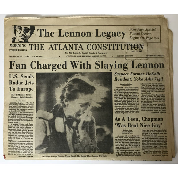 Beatles John Lennon RIP original Dec. 10 1980 Atlanta newspaper - Music Memorabilia