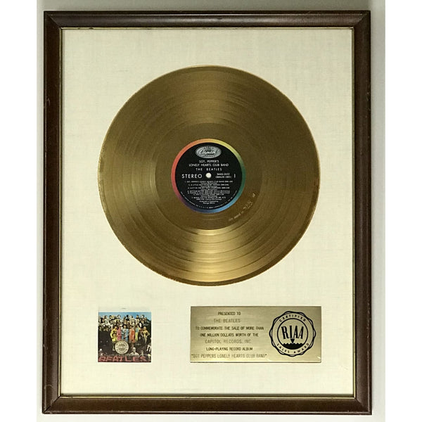 Beatles Sgt. Peppers Lonely Hearts Club Band White Matte RIAA Gold LP Award - RARE