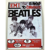 Beatles Vintage EMI Congrats Metal Decor Plaque - Music Memorabilia