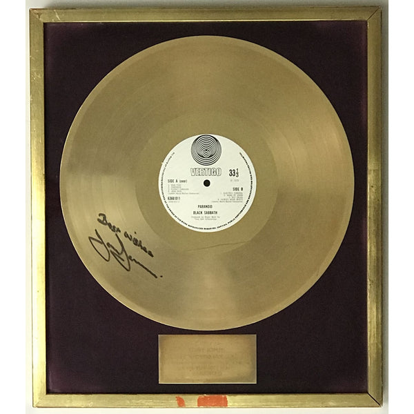 Black Sabbath Paranoid UK Label Gold Award presented to and signed by Tony Iommi - RARE