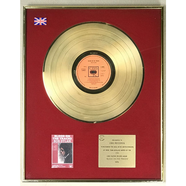 Bob Dylan Blood On The Tracks BPI Gold LP Award - RARE
