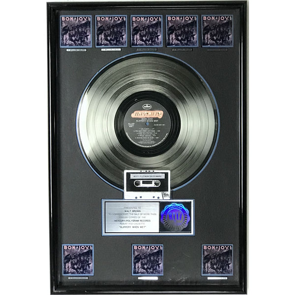 Bon Jovi Slippery When Wet RIAA 8x Multi-Platinum Album Award - Record Award