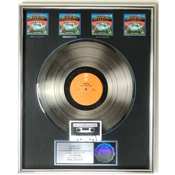 Boston Don't Look Back RIAA 4x Multi-Platinum Album Award to label - RARE