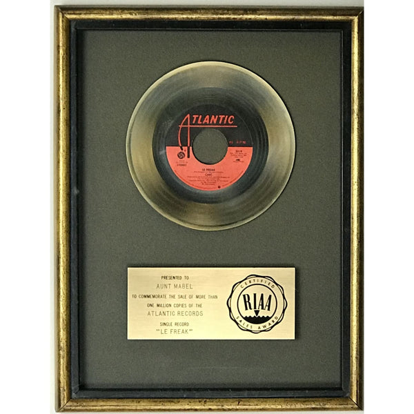Chic Le Freak RIAA Gold 45 Single Award